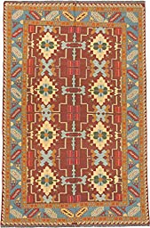Ecarpetgallery Hand-woven Nomad Open Field 5\' x 7\' Red 100% Wool area rug
