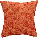 Avarada Solid Floral Bouquet Throw Pillow Cover Decorative Sofa Couch Cushion Cover Zippered 16x16 Inch (40x40 cm) Orange