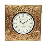 Home And Bazaar Traditional Rajasthani Golden Buddha Square Wooden Black Wall Clock With Brass Finish