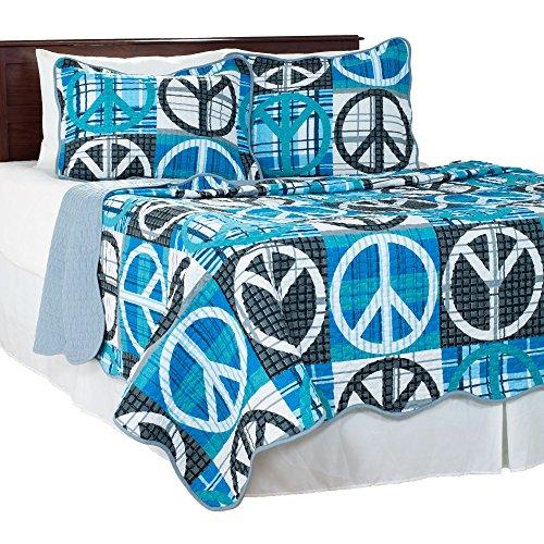 Lavish Home 3 Piece Peace Quilt Set, Full/Queen, Grey (Amazon Quilt Bedding compare prices)