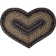 CWI Gifts Braided Ebony Heart Rug, 20 x 30