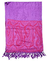 Trendy Viscose Stole Purple 80x40 Paisley Self Weaved shawl By Rajrang