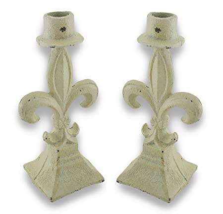 Pair of Creamy White Shabby Chic Cast Iron Fleur de Lis Taper Candle Holder by Things2Die4