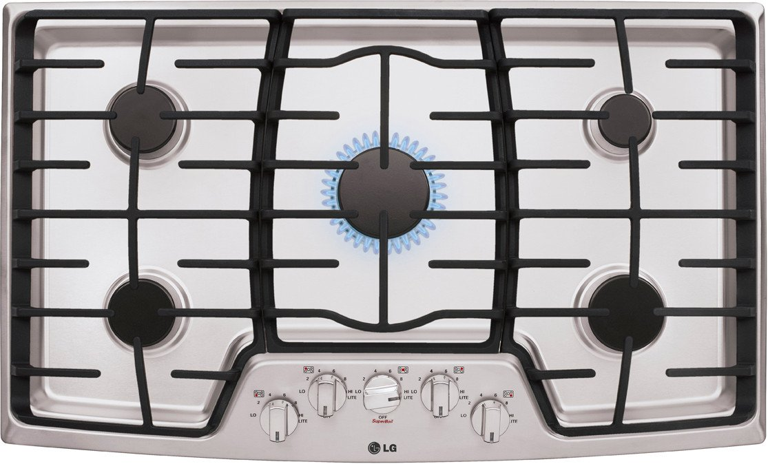 "LG LCG3611ST 36"" Stainless Steel Gas Sealed Burner Cooktop"