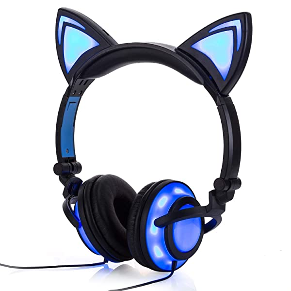 Wired Cat Ear Headphones Glowing Lights with USB Charging Cable (Black) (Color: Black)