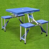 Beyondfashion Multifunction Folding Picnic Table & Chair Set Portable Fold Up Picnic Camping Festival