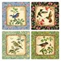 "Coasterstone AS1630 Absorbent Coasters, 4-1/4-Inch, ""Backyard Birds"", Set of 4"