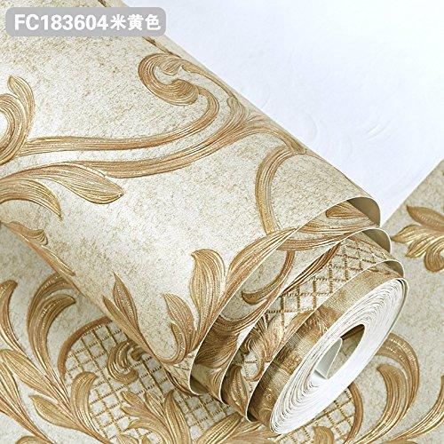 Dngy*Euro camera da letto in stile sfondo 3D stereoscopico upscale goffrato del panno non tessuto carta da parati soggiorno TV carta di parete ,FC183604 sfondo giallo M, solo lo sfondo