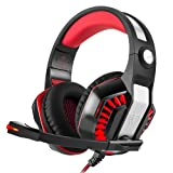 Beexcellent GM-2 Pro Gaming Over-Ear Headset with Mic, LED Lights and Volume Control Stereo Bass, Noise Cancelling, 3.5mm,Wired PC Headset for PS4 Xbox One, Laptop, PC, Tablet (Black Red) (Color: Black Red)