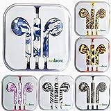ANYPHONE- For iPhone4 5 iPad3 4 ipod Headphone Headset Earphone Earbud Volume Remote+Mic Colorful Animal Stripes (1 Purple&White)