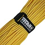 Titan Military 550 Paracord, with Official Fastener - Includes 2 FREE Paracord Project eBooks - This is the same Parachute Cord used by U.S. and Canadian Defense Forces - 100 FEET, NYLON, YELLOW