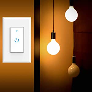 Smart Light Switch, WiFi Switch Touch Wall Switch 1 Gang, Compatible with Alexa Google Home and IFTTT, No Hub Required, One Way Switches App Control from Anywhere, Timing Schedule