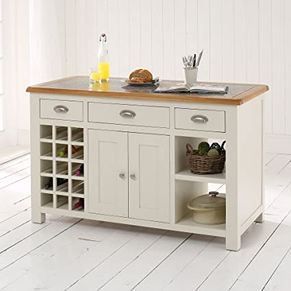 Cotswold Cream Painted Kitchen Island with Oak and Granite Top