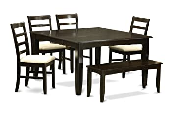 East West Furniture PARF6-CAP-C 6-Piece Dining Table Set, Cappuccino Finish