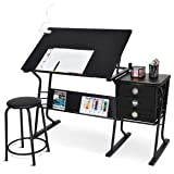 Tangkula Drafting Desk Drawing Table Adjustable with Stool and Drawers Black