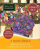 3 Seed Discs: Hanging Basket Mix/Colour Mix/Purple Burst/Petunia/Alyssum (MULTI-BUY DISCOUNT) Enough seeds for large containers