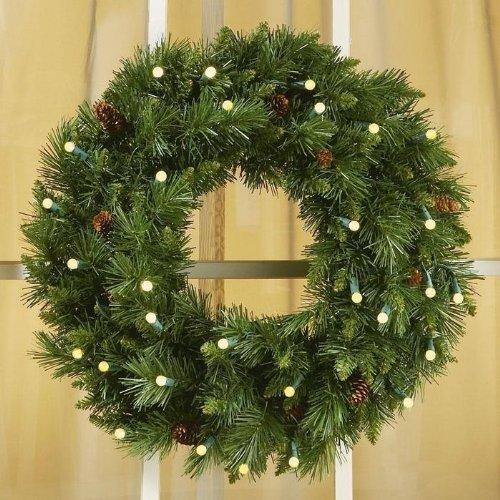 24″ Cordless LED Pre-Lit Christmas Wreath
