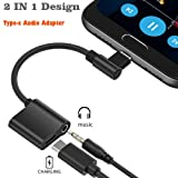2 in 1 USB-C to 3.5mm Audio Adapter, ACCGUYS USB Type C to 3.5mm Audio Jack Headphone Converter Support Audio + Charge for Motorola MotoZ Force Droid,Huawei mate 10 pro,Xiaomi 6,Not Fit for HTC and G (Color: option 3)