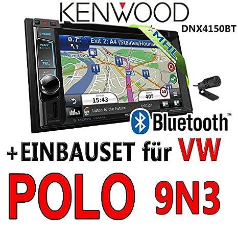 Volkswagen polo 9N3 kenwood dNX4150BT 2-dIN navigationsradio uSB mHL kit de montage d'autoradio