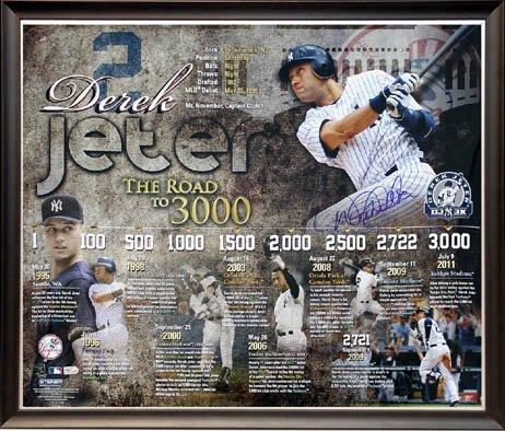 Derek Jeter 3000 Hit Signed Framed Signed Collage-20X24 front-1065913