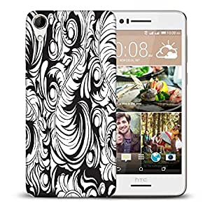 Snoogg White Big Leaves Printed Protective Phone Back Case Cover For HTC Desire 728