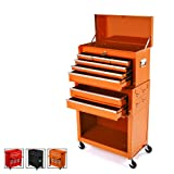 Big Tool Chest,Removable 2 in 1 Tool Box,8-Drawer Tool Storage,Detachable Tool Chest with 4 Universal Wheels (2 PCS Lockable),Keyed Locking System Toolbox Organizer,Orange (Color: Orange)