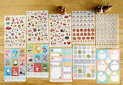 Molang Sticker Ver.3 - Cute Rabbit Charactor Diary Scrap Book Scrapbooking Decor Decoration 6 Sheets Lot Korean Stationery