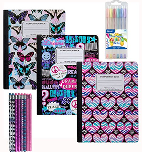Fashion Composition Book - Wide Ruled - 100 Sheets Notebook (Pack of 3) with 8 Pencils and Scented Glitter Gel Pens Set