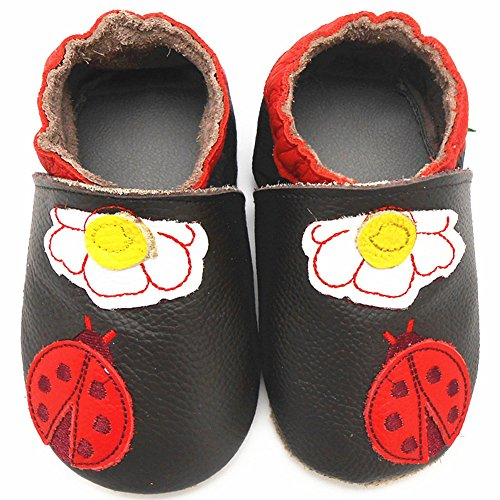 Sayoyo Baby Ladybug Soft Sole Brown Leather Infant And Toddler Shoes 18-24Months