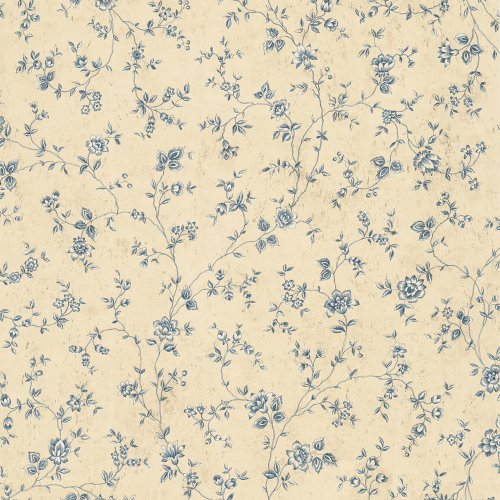 Waverly 5503885 20.5-Inch Wide Floral Trail Wallpaper, Blue