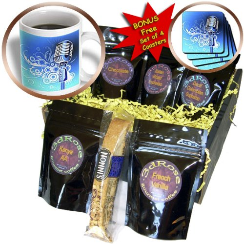 Cgb_100490_1 Florene Music - Microphone N Scrolls In Blue Aqua N Silver - Coffee Gift Baskets - Coffee Gift Basket
