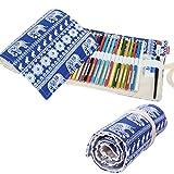 Damero tela hecha a mano l�piz Wrap Roll up bolsa de almacenamiento (paquetes no incluye lapices), 36 Holes, Elephants