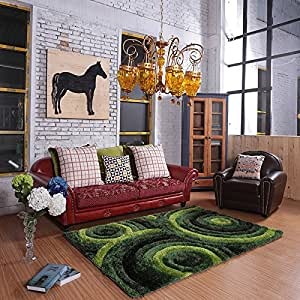 Ustide green and black circles pattern 3d for Living room rugs amazon