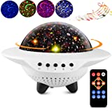 ?2019 Upgrade?Kids UFO Starry Sky Star LED Night Light Projector, Bedroom Decor Table Lamp with Bluetooth Speaker,Remote Control,Timer,360°Rotating,Chargeable,Gifts for Children Baby and Adult(UFO) (Color: Ufo, Tamaño: Small)