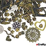 eCrafty EC-5633 Jewelry Makers Stamped Metal Charms and Pendants Mix, 50gm