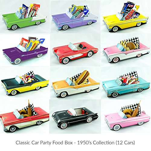12 Classic Car Party Food Boxes - 1950's Collection (Classic Car Birthday compare prices)
