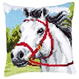 Vervaco White Horse Cross Stitch Cushion Multi Colour