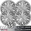 15 Inch Universal Clip-On Chrome Hubcap Covers