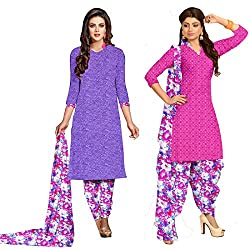 Shopeezo Purple and Pink Colored Crepe Un-stitched Dress Material With 1 Kameez Free