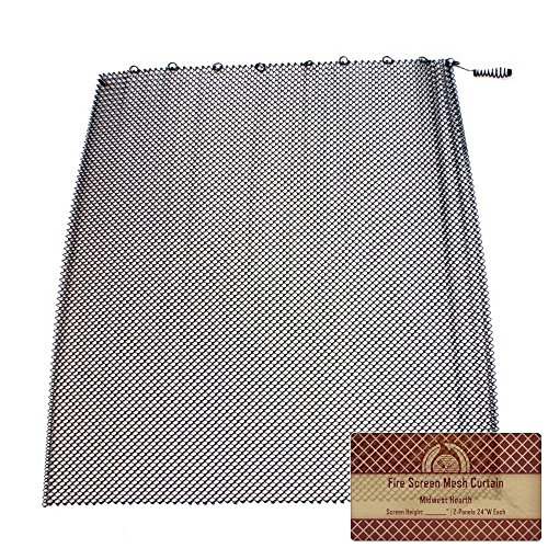 Midwest Hearth Fireplace Screen Mesh Curtain 2 Panels Each 24 Wide Includes Screen Pulls