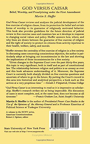 God Versus Caesar: Belief, Worship, and Proselytizing Under the First Amendment (Suny Series in American Constitutionalsm) (SUNY Series in American Constitutionalism)