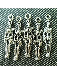 Np Supplies 6 Skeleton Charms Antique Voodoo Dark Tibetan Silver Tone (NS218)
