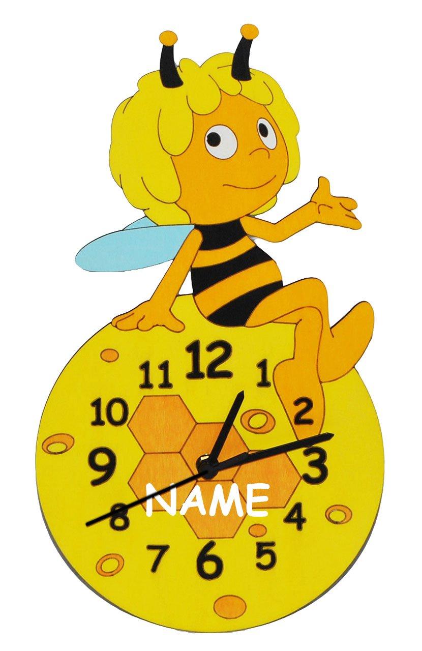 """Wanduhr – lautlos – """" die Biene Maja """" incl. Namen – Uhr aus Holz – für Jungen Mädchen Kinder / Kinderzimmer Kinderuhr Uhren Quarz Bienen – Bienenwabe Honigbiene online bestellen"""