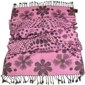 Lovarzi Womens Pink Pashmina Scarf  Polka Dot Floral Scarves for Ladies and Girls  Gift for women