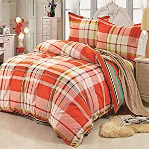 Lt twin full queen size 100 cotton white - Orange and grey comforter ...