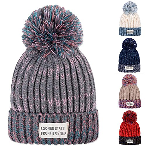[YCHY Unisex Patch blending Sphere Knit Hat wool cap thick warm cap (Grey)] (Different Types Zombie Costumes)