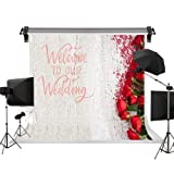 Kate 10x10ft/3x3m Wedding Backdrop Flowers Photo Background Red Rose Floral Backdrop Wedding Photography Backgrpunds Photo Photography Studio Props (Color: C4237, Tamaño: 10x10ft)