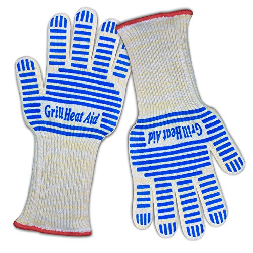 Premium Oven Gloves Extra-Long Cuff - En407 Certified To Withstand More Than 662+°F - Flame & Heat Resistant Aramid Exterior - 100% Cotton Lining For Maximum Comfort - Thick Yet Amazingly Light-Weight And Flexible - Blue Silicone Strip For Superior Grip -