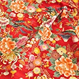和柄 色彩文様  綿100% ドビー織り 赤紅色