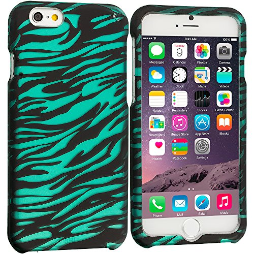 Accessory Planet(Tm) Black/Baby Blue Zebra 2D Hard Snap-On Design Rubberized Case Cover Accessory For Apple Iphone 6 (4.7)